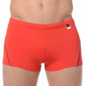 HOM sale swim shorts Sport red met navy biesje L en XL