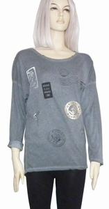 Sensi Wear sale shirt met badgesprint longsleeve, antraciet