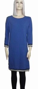 Sensi Wear homewear blauwe jurk met bies, maat M