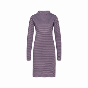 Cyell homewear dress doubleface stripe plum maat 42