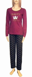 Royal Dutch pyjama, bordeaux met zwart sale maat XS