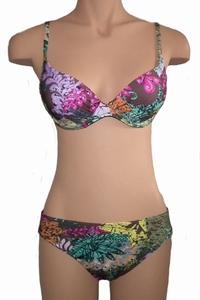 Watercult voorgevormde bikini in groen met roze in 38C + 40