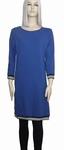 Sensi Wear homewear blauwe jurk met bies, maat XL