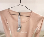 Blue Pepper fine knitt tee thumbhole shirt in blush
