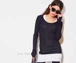 Blue Pepper fine knitt tee thumbhole shirt in black